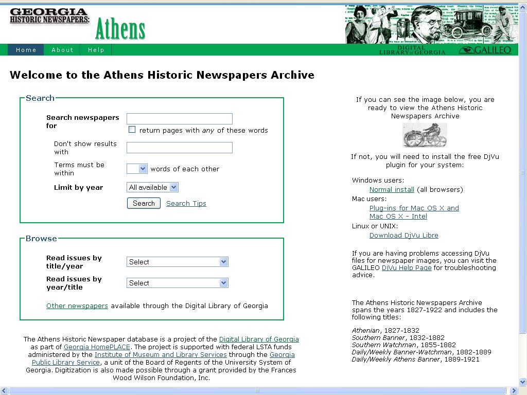 CSU Libraries: The Athens Historic Newspapers Archive Now