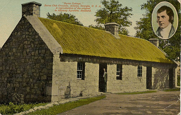 Postcard of Robert Burns Cottage, Atlanta, Georgia.