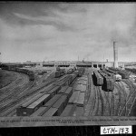 Savannah, ca. 1930. View of dock area. Warehouses seen in the background. In the foreground are railroad connections needed to connect with the water transportation available at Savannah.