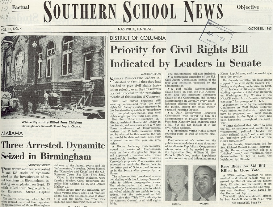 Southern School News, October 1963. Featured stories include the 16th Street Baptist Church bombing in Birmingham, Alabama, and debate surrounding President Kennedy's civil rights bill (later to be signed into law as the Civil Rights Act of 1964 by President Johnson).