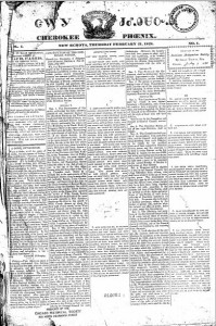 February 21, 1828 edition of the Cherokee Phoenix. Georgia Historic Newspapers Collection.