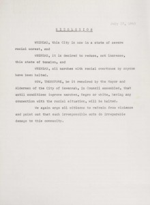 Resolution regarding civil rights marches in the city of Savannah recorded in the Mayor's Speeches File Books for Savannah, Georgia, 1963