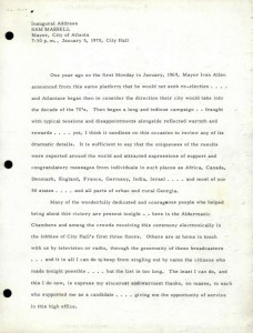 Inaugural address, 1970. Sam Massell papers, MSS 695, Kenan Research Center at the Atlanta History Center.