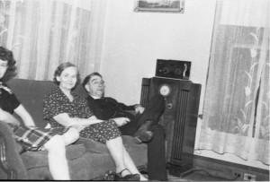 Lennox family listening to the radio at home, Atlanta, Georgia, circa late 1930s or early 1940s. David A. Lennox, Jr. Photographs, Special Collections and Archives, Georgia State University Library.