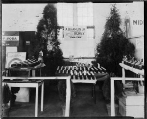 Photograph of the A.B. Hamlin Jr. Honey exhibit at the Georgia State Fair, Macon, Bibb County, Georgia, 1920-1939? Photograph held by the Middle Georgia Archives, Washington Memorial Library, Georgia State Fair Records, 1906-, box 12, folder 100b, photograph of A.B. Hamlin, Jr. Honey exhibit.