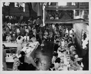 Photograph of a banquet, Perry, Georgia, 1945. Photograph shows a dinner held when General Courtney Hodges visited Perry, Georgia, in 1945. Houston County Public Library, Perry, Georgia.