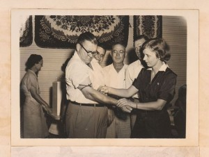 Photograph of a public health nurse taking blood from Sylvania mayor Willard H. Lariscy, Sylvania, Georgia, 1951. Screven-Jenkins Regional Library System Collection, Screven-Jenkins Regional Library System.