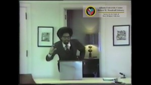 Still from The Generic Structure of Afro-American Theology and Response by Cornel West and Book Review by Cornel West and Charles Long. Society for the Study of Black Religion Collection, Robert W. Woodruff Library