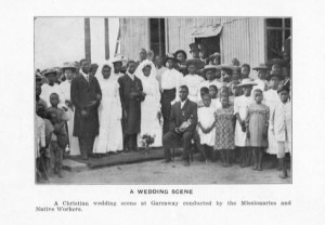 Photogravures booklet 19, A wedding scene. A Christian wedding scene at Garraway, Liberia conducted by the missionaries. Anna E. Hall Collection, Photographs, Robert W. Woodruff Library