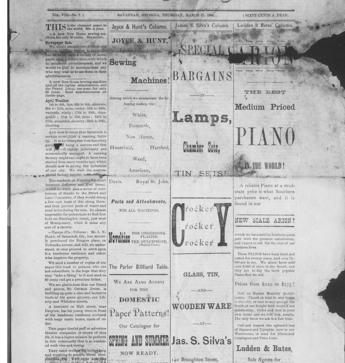 front cover of the newspaper The Penny Local (Savannah, Ga.), March 27, 1884, Page 1